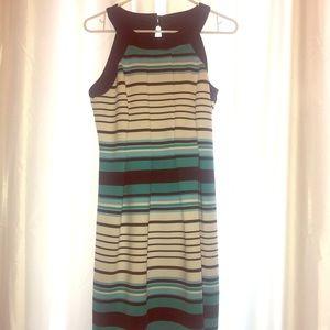 Blue And White Horizontal Stripped Halter Dress.